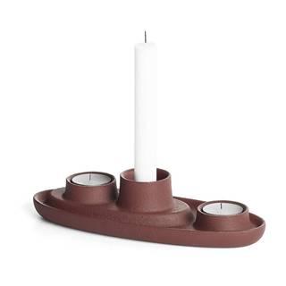 Svietnik vo vínovočervenej farbe EMKO Aye Aye Three Candles