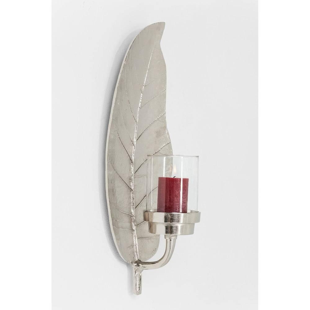 Kare Design Nástenný kovový svietnik v striebornej farbe Kare Design Leaf