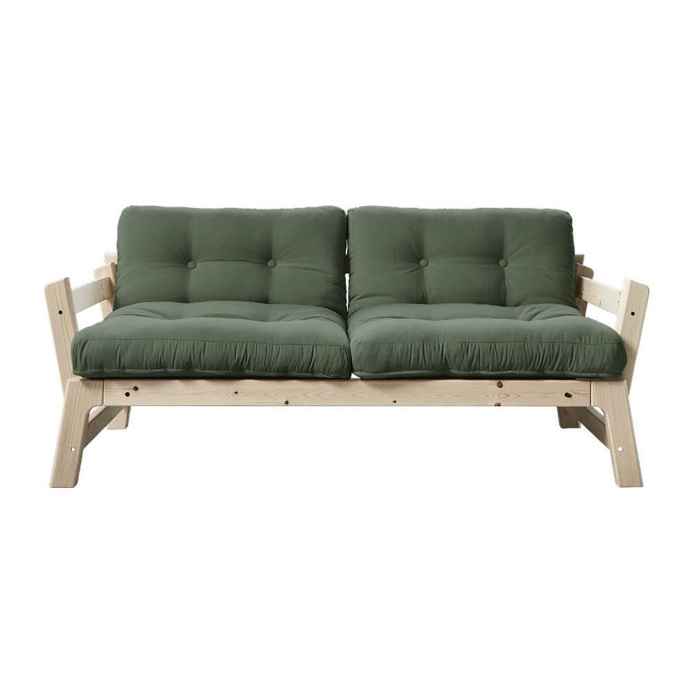 Karup Design Rozkladacia pohovka so zeleným poťahom Karup Design Step Natural/Olive Green